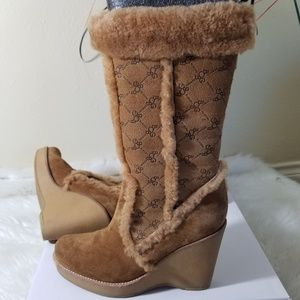 BCBG Girls Brown Suede Faux Fur Wedges Boots